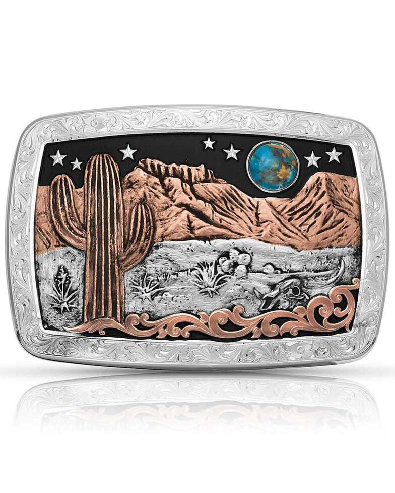 Montana Silversmiths Women's Desert Moon Turquoise Cactus Buckle, Turquoise, hi-res