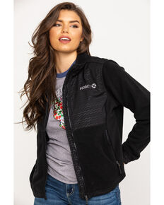 HOOey Women's Solid Soft Shell Zip Jacket, Black, hi-res
