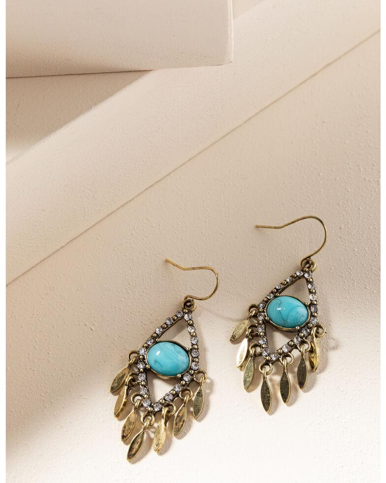 Shyanne Women's Gilded Gold Teardrop Turquoise Earrings, Gold, hi-res