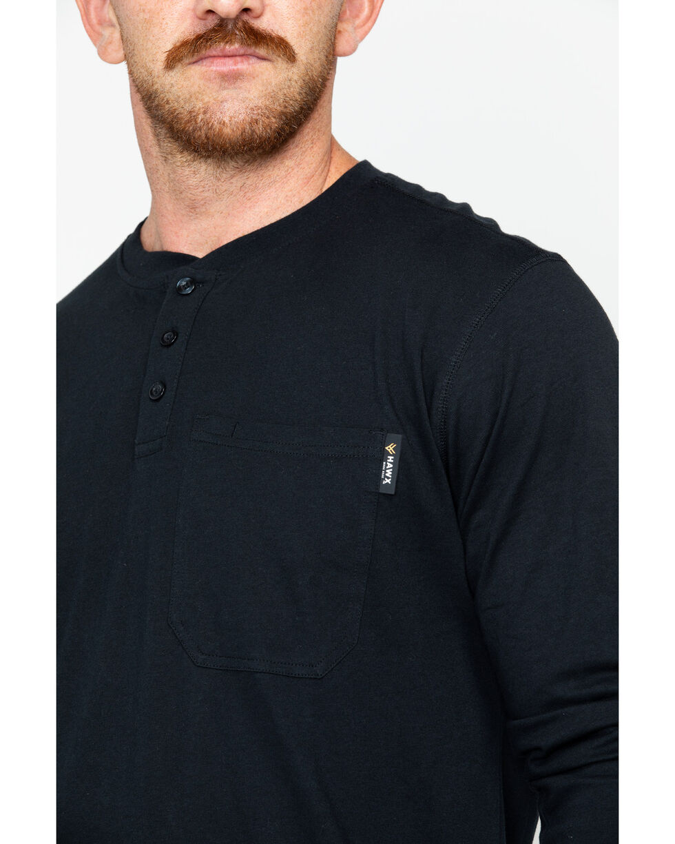Hawx Men's Pocket Henley Work Shirt , Black, hi-res