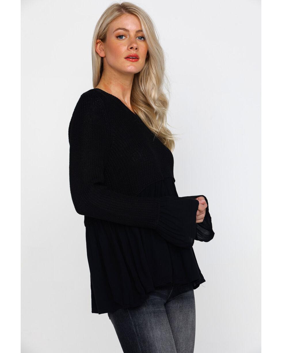Rag Poets Women's Black Contrast Bell Sleeve Babydoll Hem Sweater , Black, hi-res