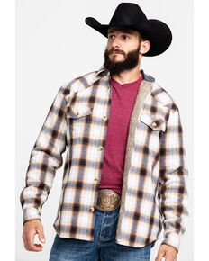 Cody James Men's Avalon Plaid Sherpa Bonded Long Sleeve Western Flannel Shirt , White, hi-res