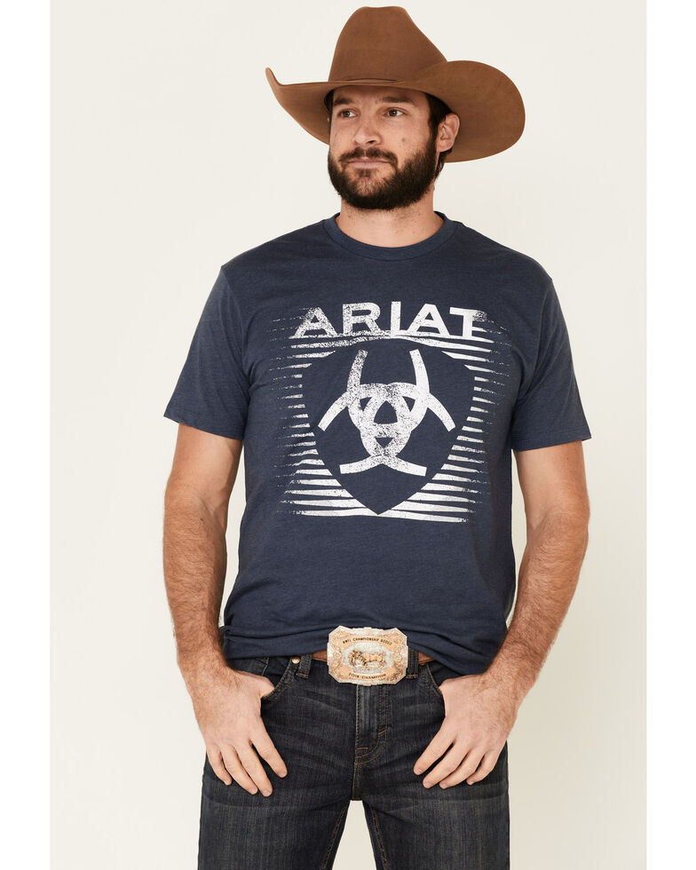 Ariat Men's Heather Navy Shade Logo Graphic T-Shirt , Navy, hi-res