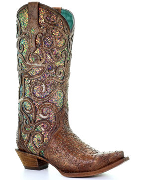 Corral Women's Cognac Glitter Inlay Western Boots - Snip Toe, Brown, hi-res