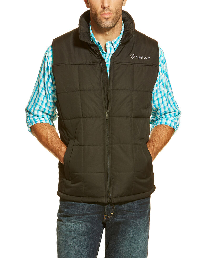 Ariat Men's Crius Zip-Front Vest - Big , Black, hi-res