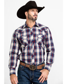 Roper Men's Multi Med Plaid Snap Long Sleeve Western Shirt , Blue, hi-res