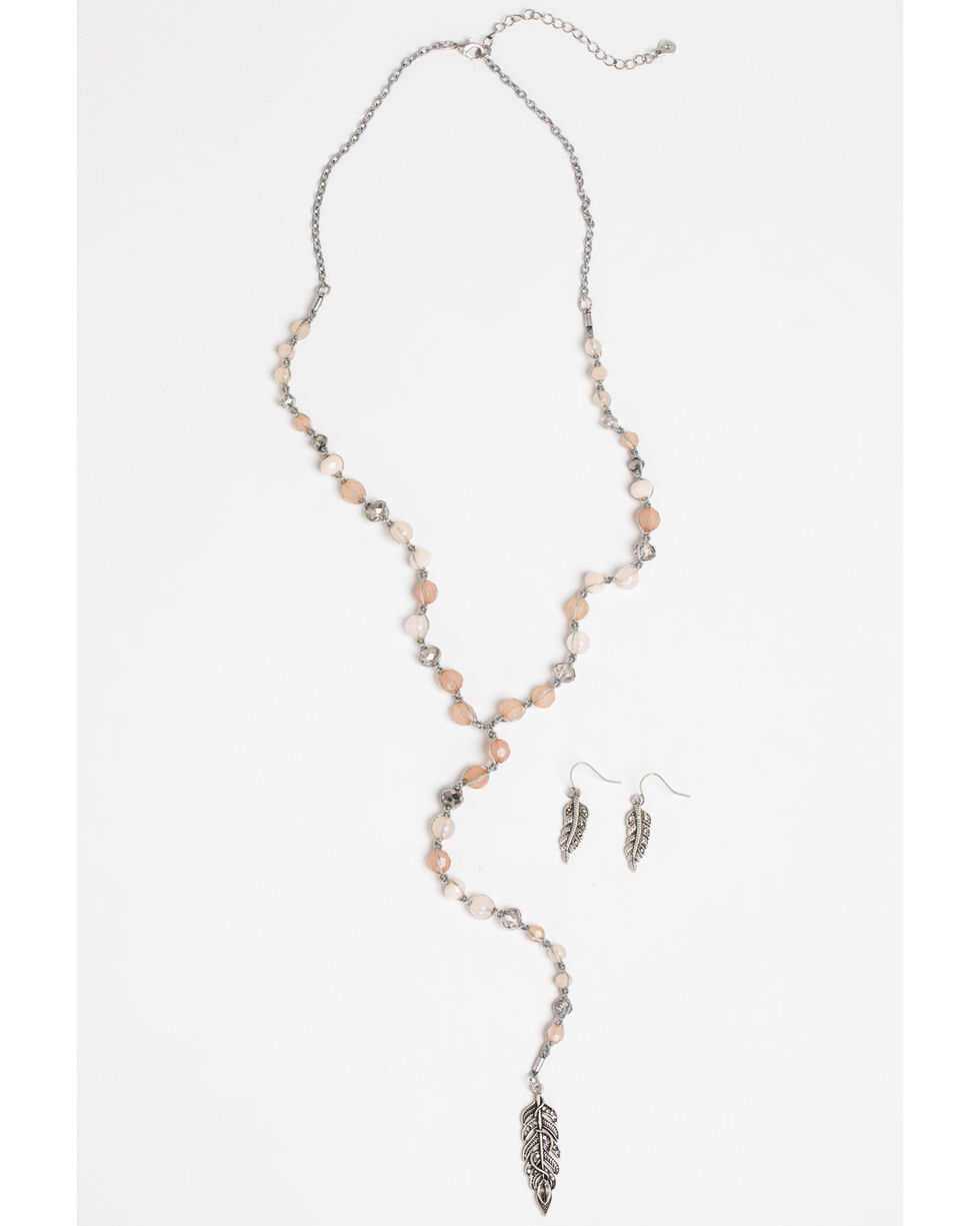 Shyanne Women's Bella Bling Feather Necklace Set, Silver, hi-res