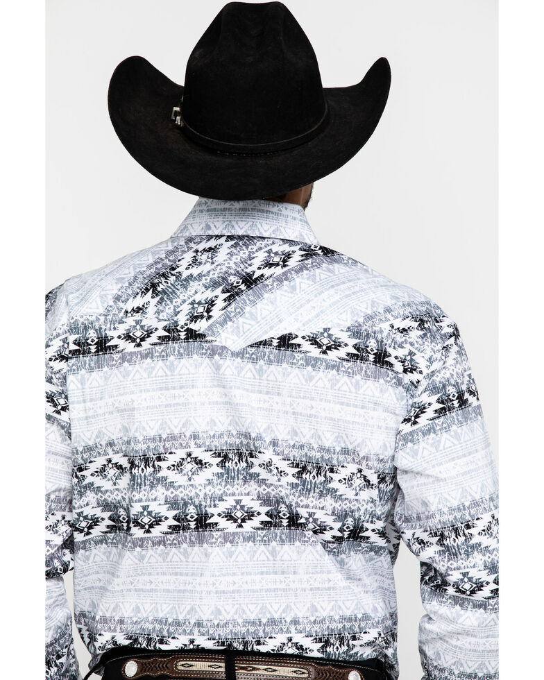 Rough Stock By Panhandle Men's Castle Gate Aztec Print Long Sleeve Western Shirt , White, hi-res