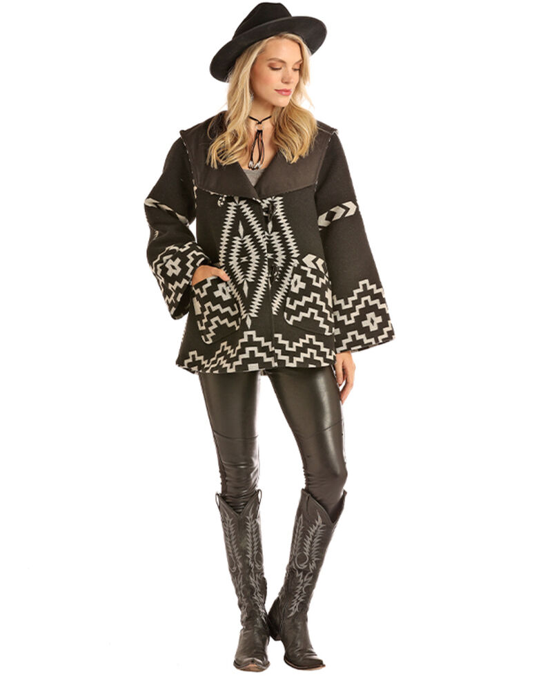 Powder River Outfitters Women's Jacquard Aztec Wool Cape Coat , Black, hi-res