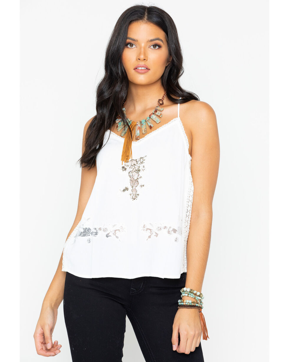 Miss Me Women's Floral Lace Layering Tank, White, hi-res