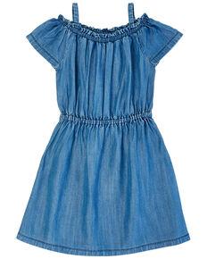 Wrangler Girls' Cold Shoulder Chambray Dress, Blue, hi-res