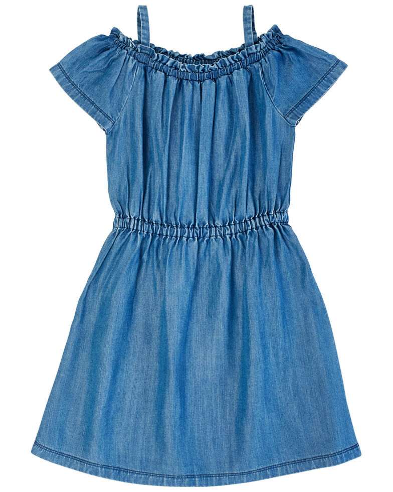 Wrangler Girls' Cold Shoulder Chambray Dress, Blue, hi-res