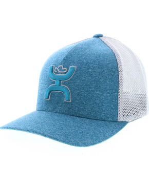 HOOey Youths' Grey Coach FlexFit Cap , Light Blue, hi-res