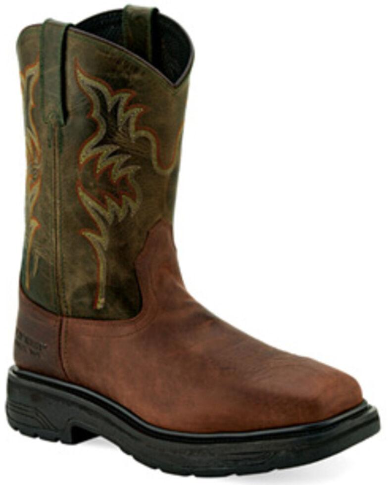 "Old West Men's 11"" Orange Western Work Boots - Steel Toe, , hi-res"