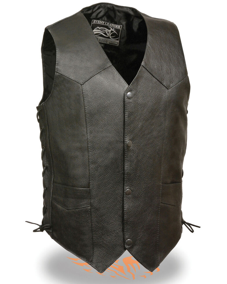 Milwaukee Leather Men's 3X Classic Side Lace Biker Vest - Tall , Black, hi-res