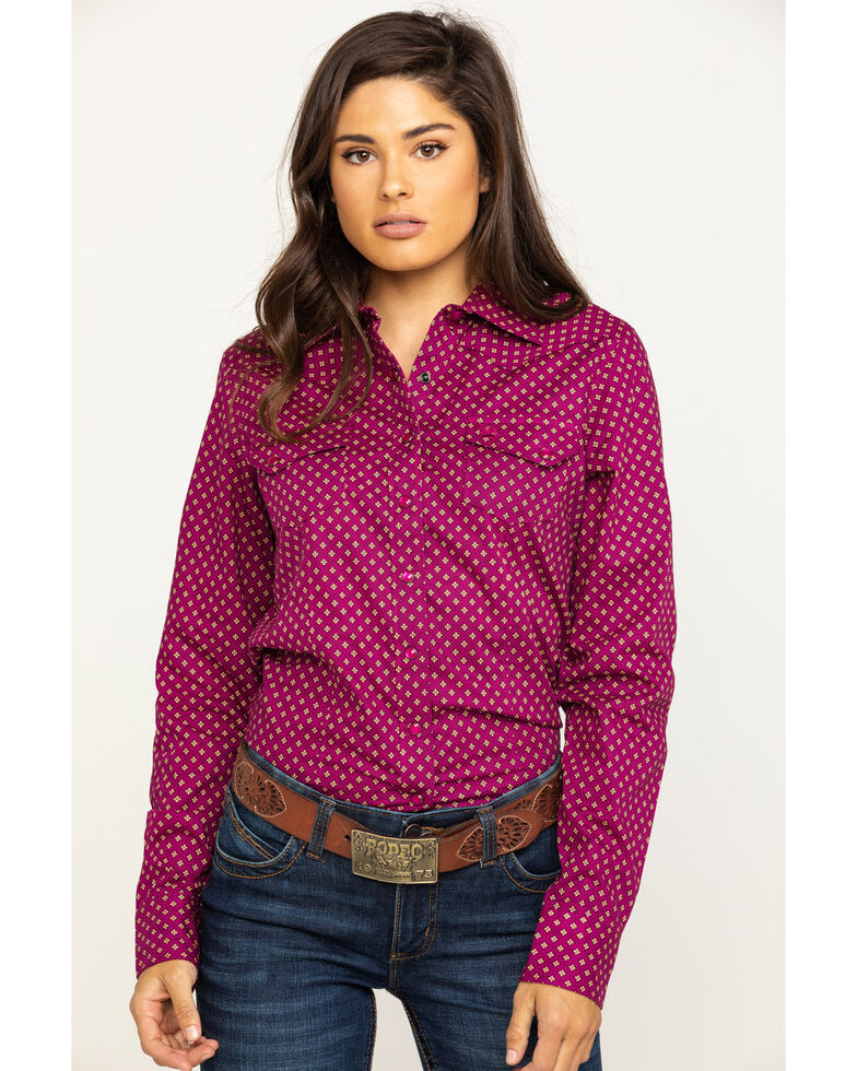 Cinch Women's Purple Tile Print Snap Long Sleeve Western Shirt , Purple, hi-res