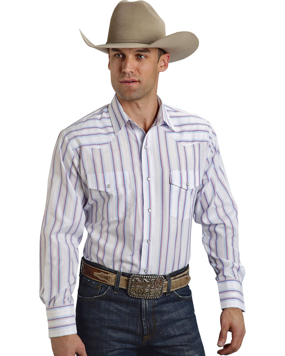 Roper Men's Blue and White Striped Western Shirt, Blue, hi-res