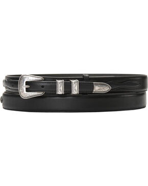 Nocona Leather Billet Overlay Ranger Belt, Black, hi-res