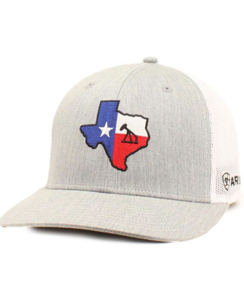 Ariat Men's Grey Texas Oil State Patch Mesh-Back Ball Cap, Grey, hi-res