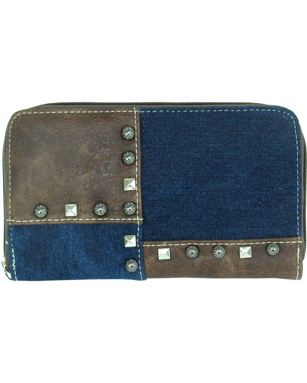 Savana Women's Blue Faux Leather Patchwork Wallet , Blue, hi-res