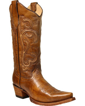 Corral Women's Corded Embroidered Western Boots, Brown, hi-res