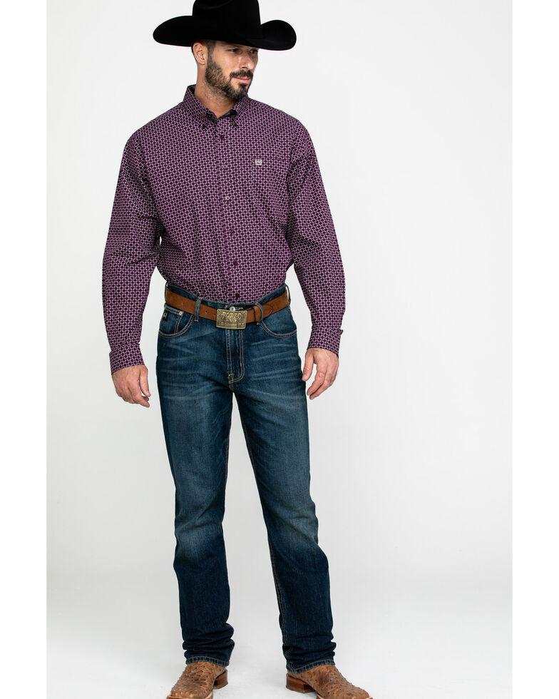 Cinch Men's Purple Square Geo Print Long Sleeve Western Shirt - Big , Purple, hi-res