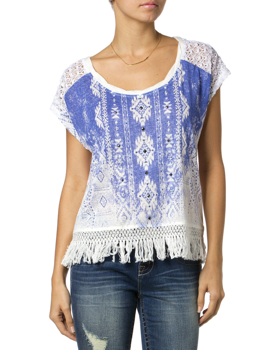 Miss Me Women's Printed Fringe Top, Blue, hi-res