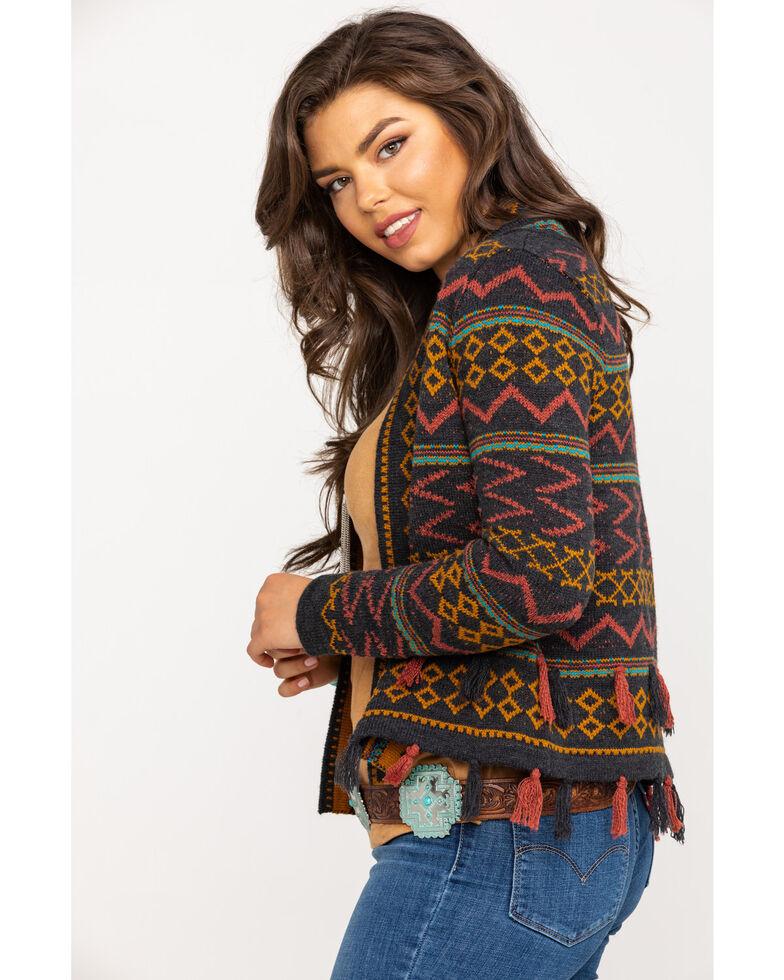 Shyanne Women's Multi-Color Aztec Cropped Cardigan, Charcoal, hi-res