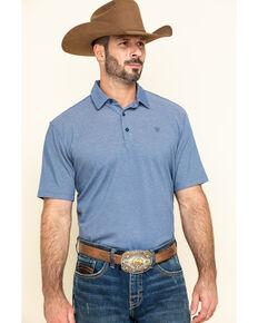 Ariat Men's Navy Pique TEK Short Sleeve Polo Shirt , Navy, hi-res