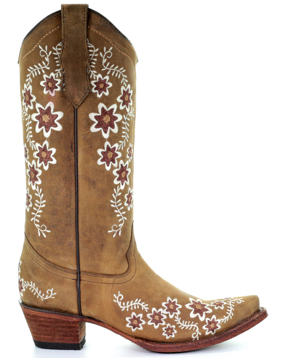 Corral Women's Tan Floral Embroidery Western Boots - Snip Toe, Tan, hi-res