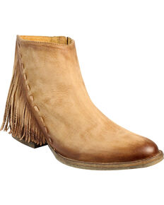 Circle G by Corral Women's Side Fringe Booties, Honey, hi-res