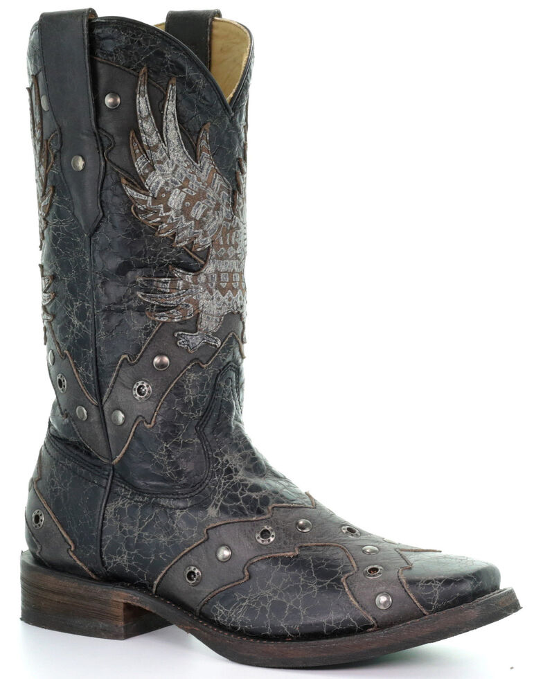 Corral Men's Eagle Overlay Western Boots - Square Toe, Black, hi-res