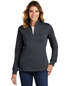 Sport Tek Women's Graphite Heather 1/4 Zip Front Work Pullover , Grey, hi-res