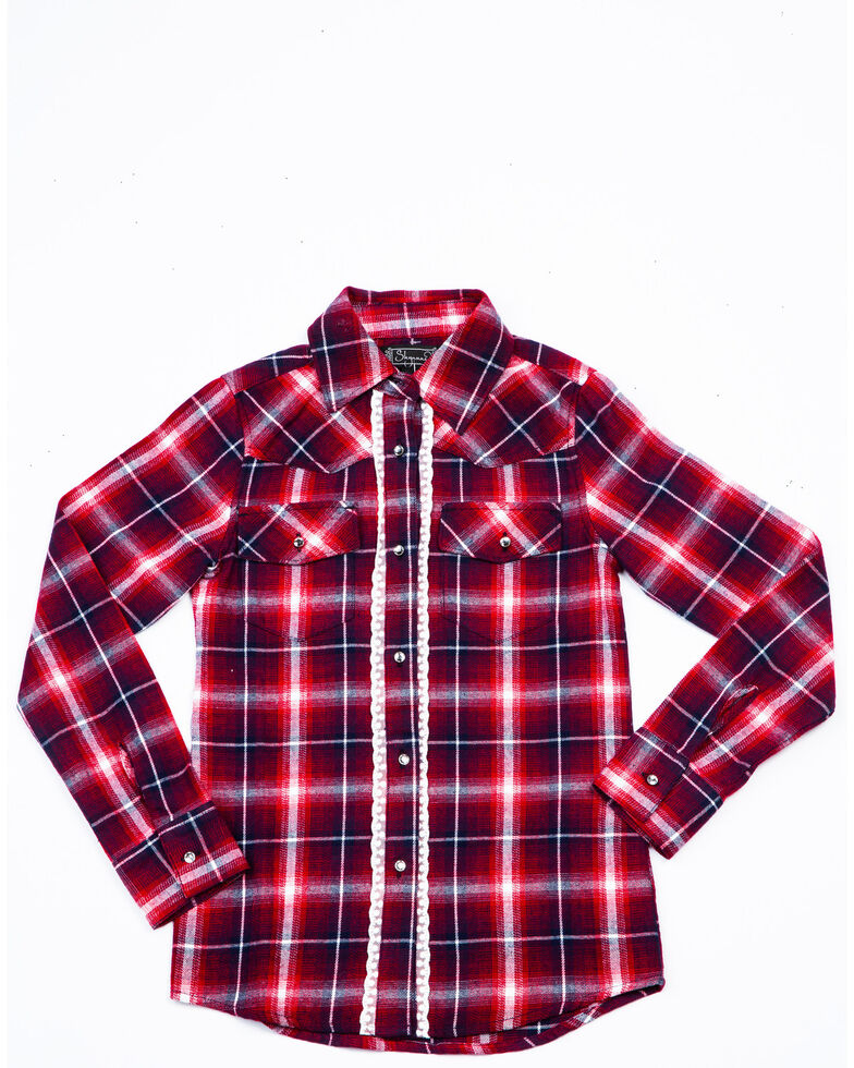 Shyanne Girls' Family Plaid Long Sleeve Flannel , Red, hi-res
