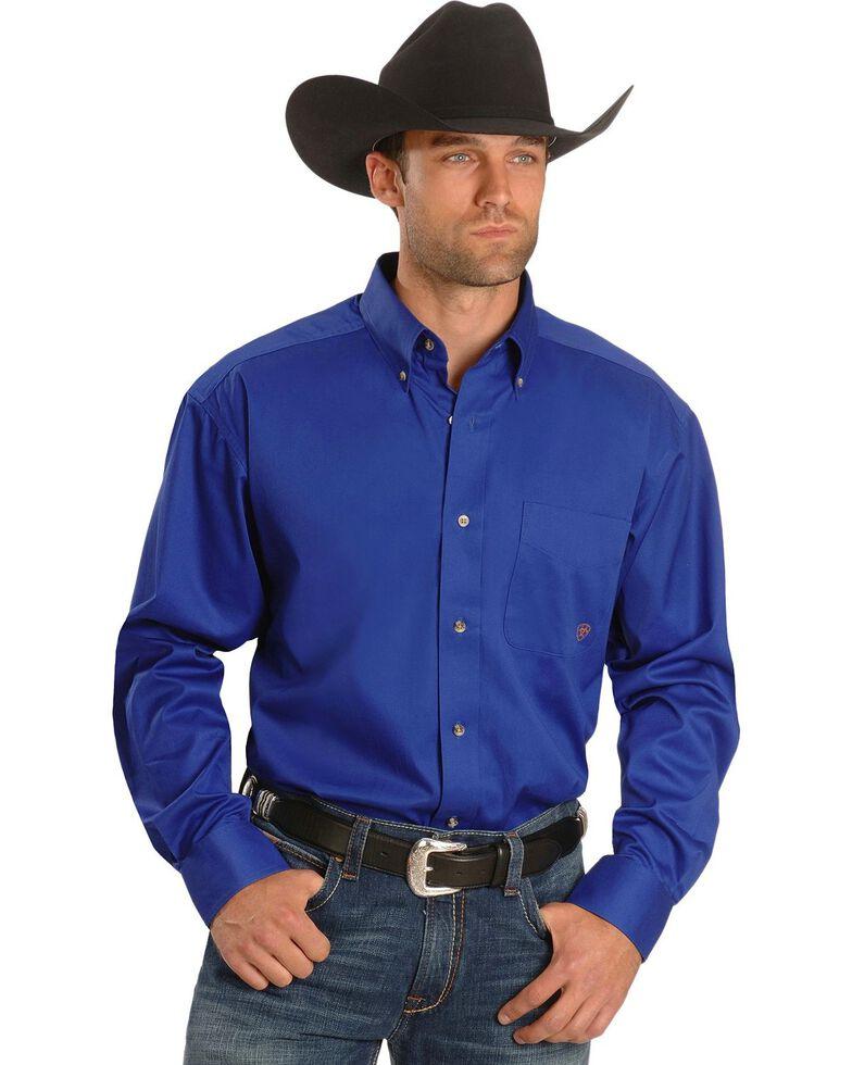 Ariat Men's Blue Solid Twill Oxford Long Sleeve Western Shirt - Big & Tall , Blue, hi-res