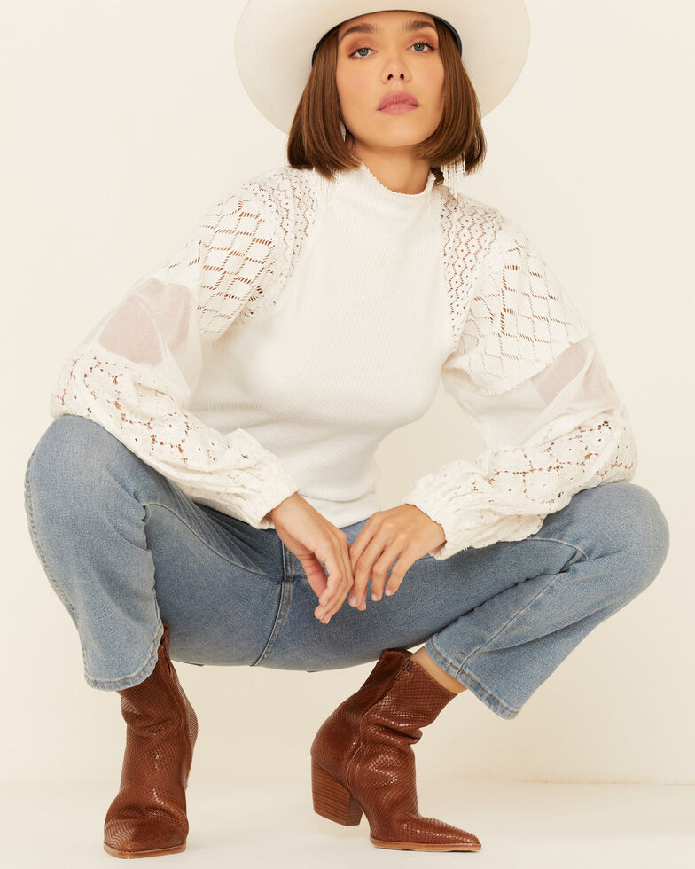 Free People Women's Ivory Love Too Much Long Sleeve Top , Ivory, hi-res