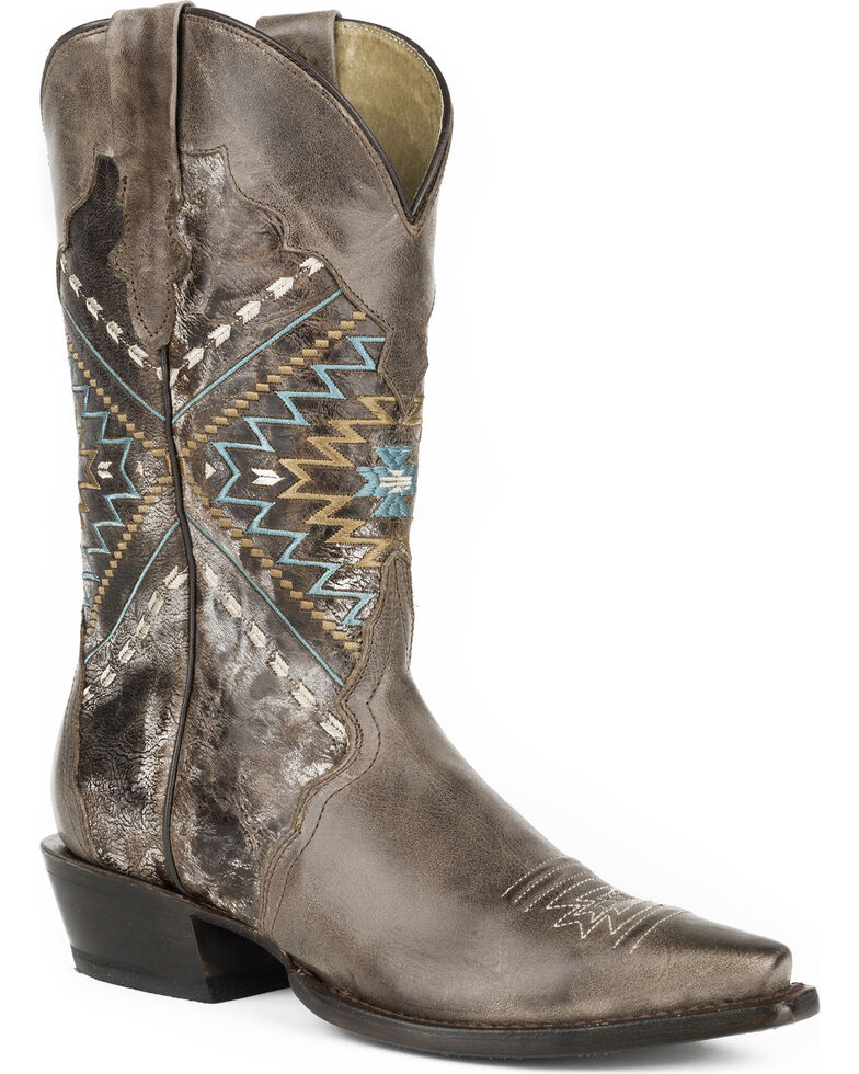 Roper Women's Brown Native Embroidery Western Boots - Snip Toe , Brown, hi-res