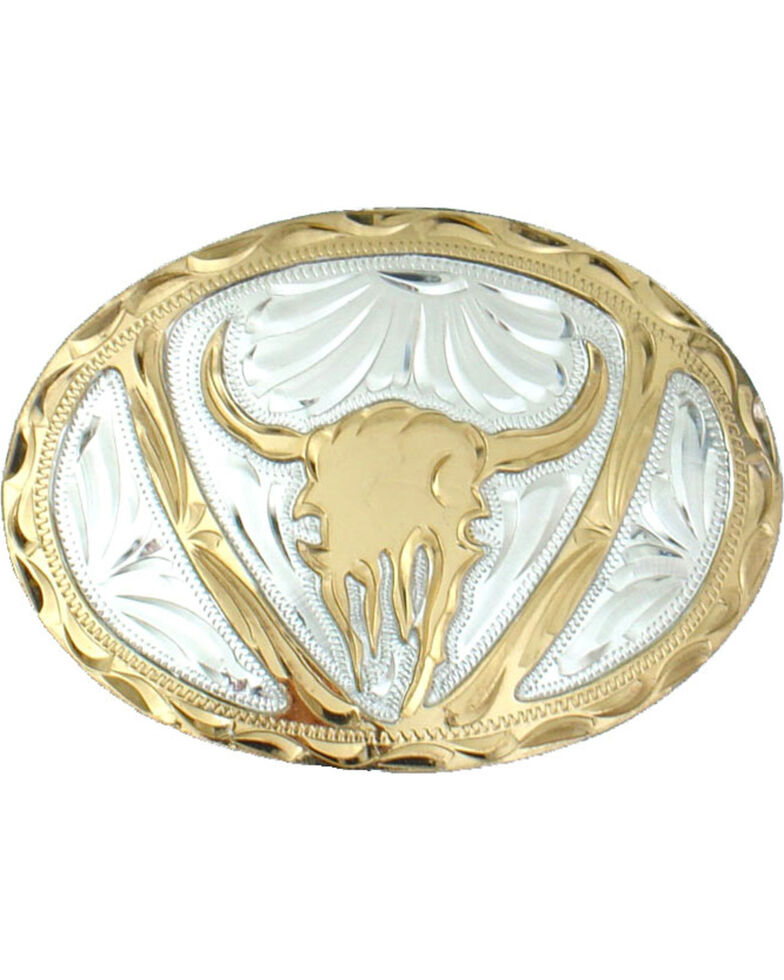Western Express Men's Silver Steer Head Belt Buckle , Silver, hi-res