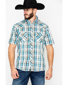Wrangler Men's Fashion Plaid Snap Short Sleeve Western Shirt, Beige/khaki, hi-res