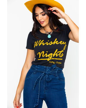 Bohemian Cowgirl Women's Whiskey Nights Graphic Tee , Black, hi-res