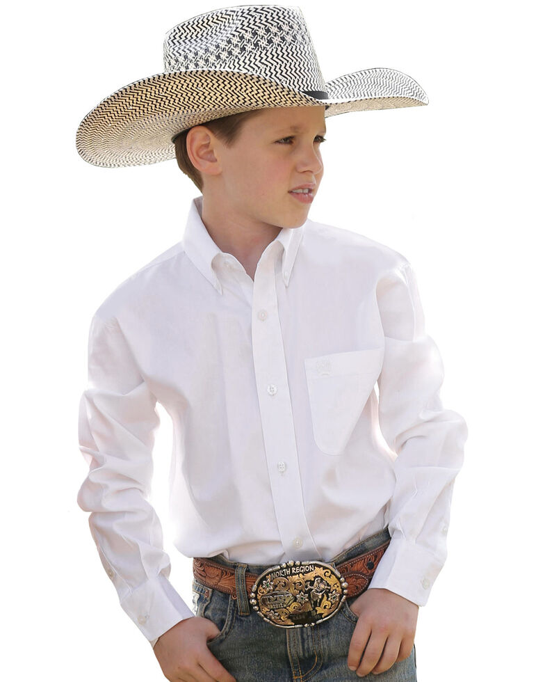 Cinch Boy's Solid Long Sleeve Shirt, White, hi-res