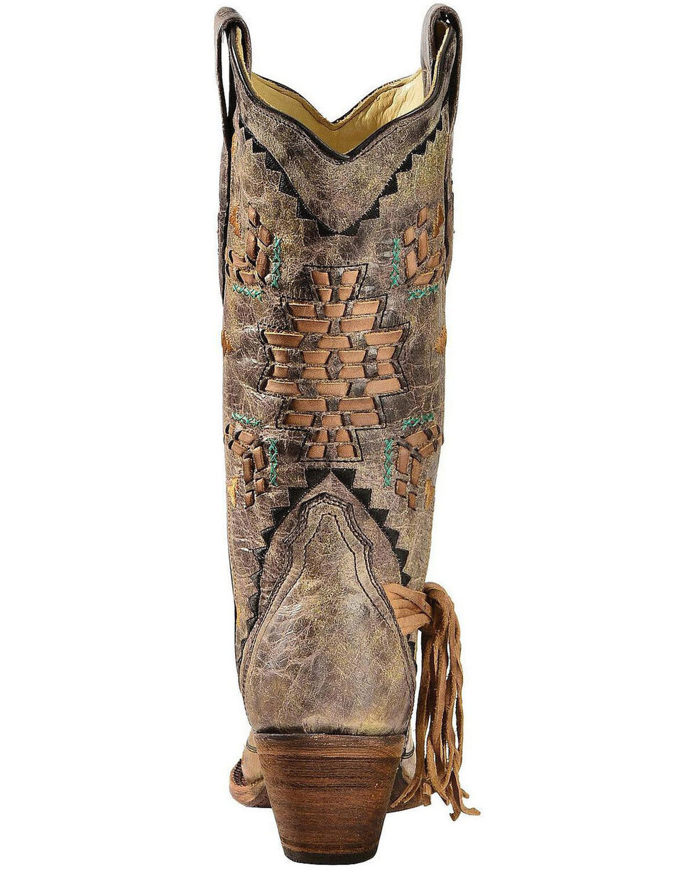 Corral Women's Laser Woven Western Boots, Tobacco, hi-res