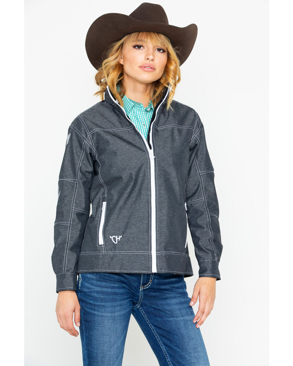 Cowgirl Hardware Arrow Tech Embroidered Zip-Up Jacket , Charcoal, hi-res