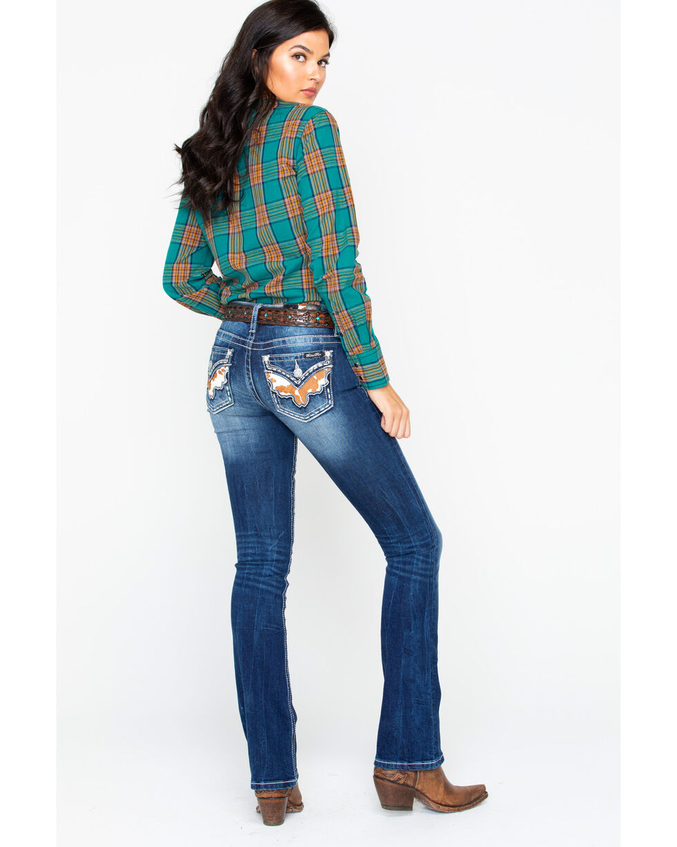 Miss Me Women's Step To It Boot Cut Jeans , Blue, hi-res