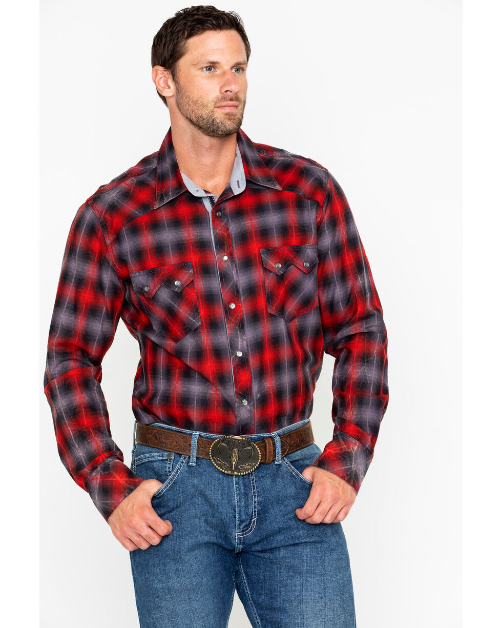 Rock & Roll Cowboy Men's Yarn Dye Satin Plaid Long Sleeve Western Shirt , Red, hi-res