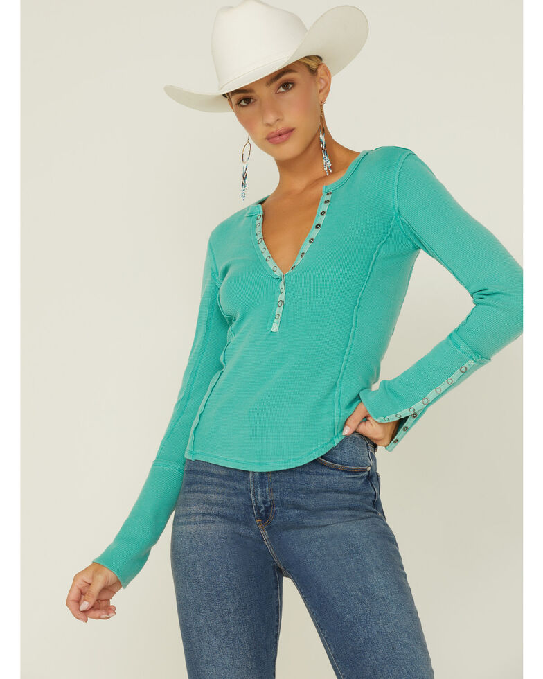 Free People Women's Nailed It Henley Shirt, Green, hi-res