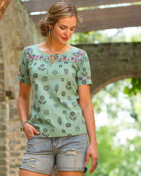 Ryan Michael Women's Agave Day of the Dead Artisan Top, Teal, hi-res