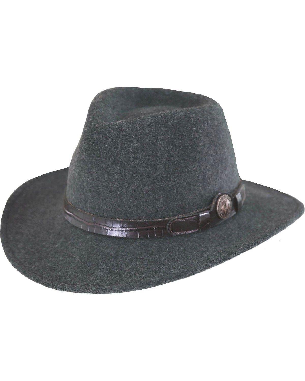 Outback Trading Co Shy Game Mens Hat Black Australian Wool UPF50