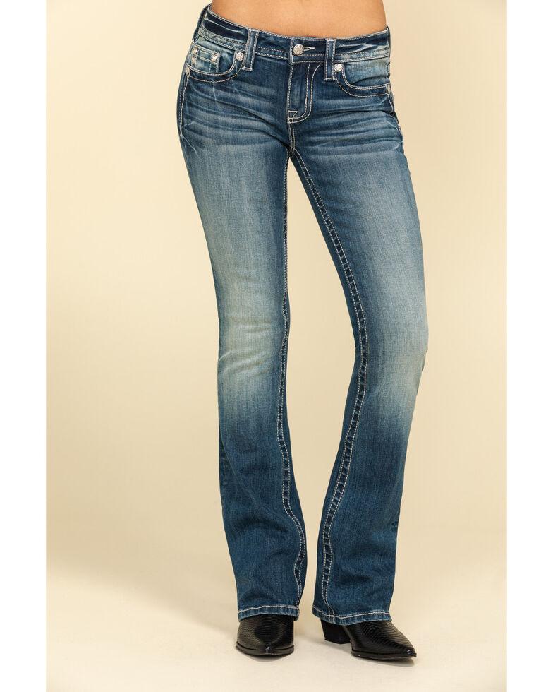 "Miss Me Women's Floral Glitz Top Border 34"" Chloe Bootcut Jeans, Blue, hi-res"