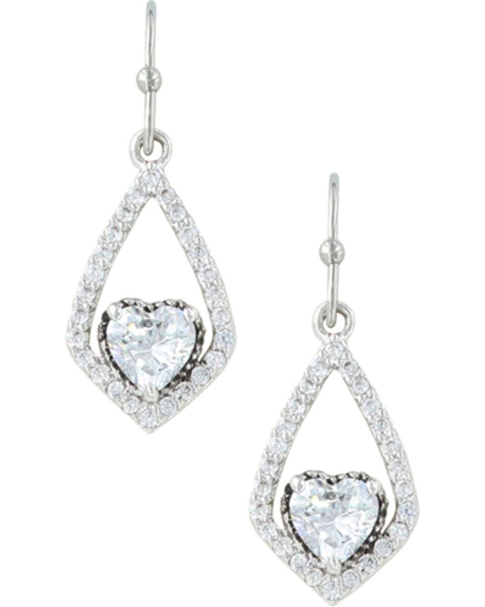 Montana Silversmiths Women's Swinging Heart Earrings , Silver, hi-res